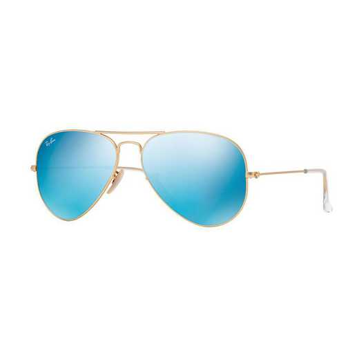0RB30251121755: Ray-Ban Aviator Sunglasses - Gold/Blue Flash Lenses